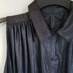 Guess Mix Media Oversized Sleeveless Button Down